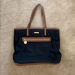 Michael Kors Black/Tan Kempton Nylon Tote